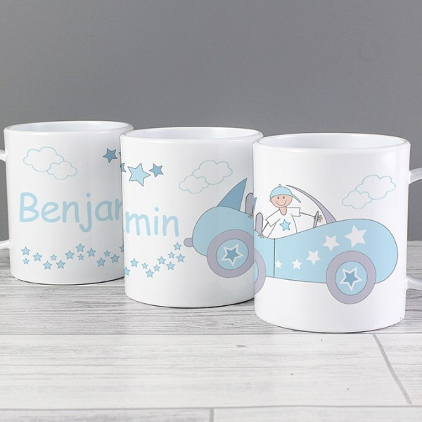 Personalised Little Monkey in Car Plastic Mug