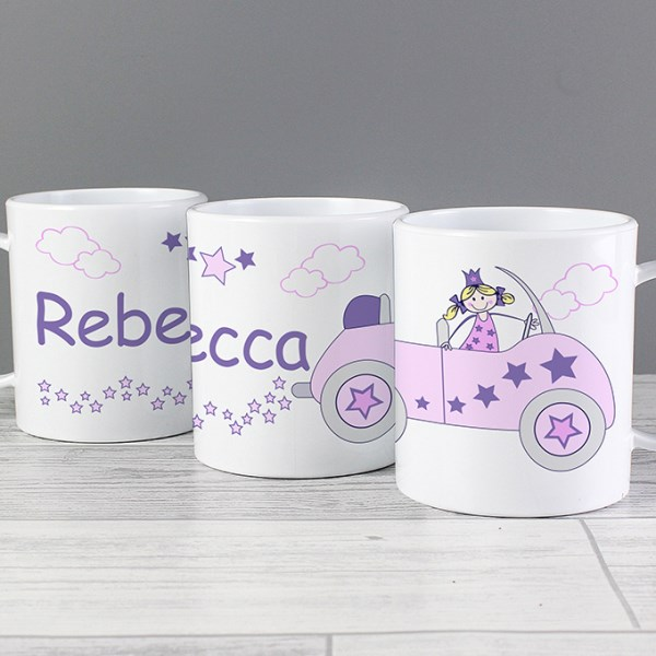 Personalised Little Princess in Car Plastic Mug