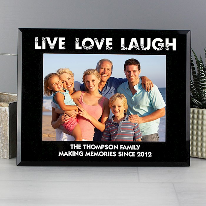 Live Love Laugh Black Glass 7x5 Photo Frame
