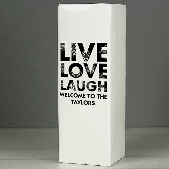 Live Love Laugh White Square Vase