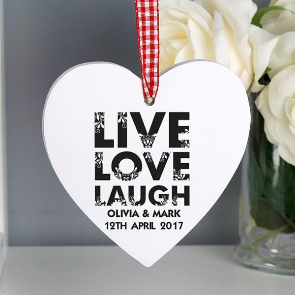 Live Love Laugh Wooden Heart Decoration