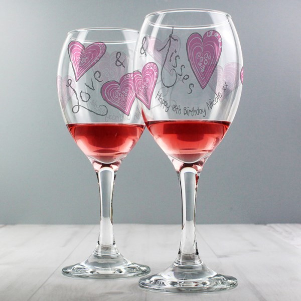 Love & Kisses Wine Glass