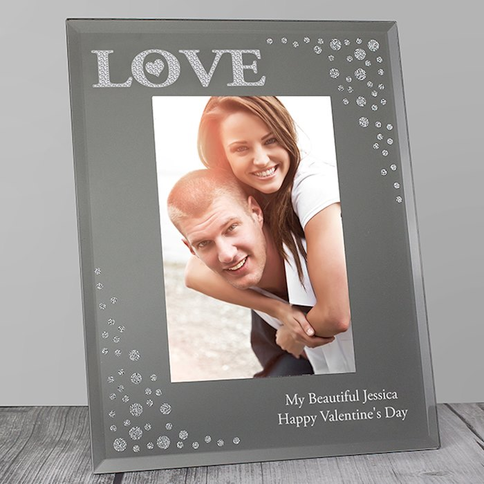 LOVE Diamante 4x6 Glass Photo Frame