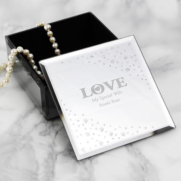 LOVE Diamante Glass Trinket Box