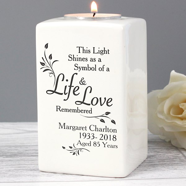 Loving Memory Ceramic Tea Light Candle Holder Specialmomentcouk