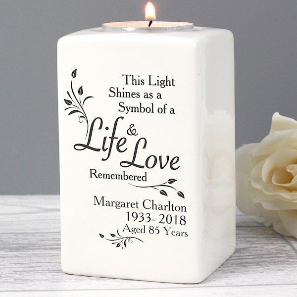 Loving Memory Ceramic Tea Light Candle Holder