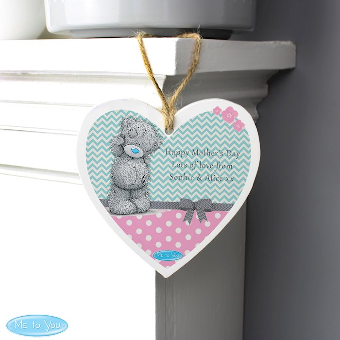 Me To You Pastel Polka Dot for Her Wooden Heart Decoration