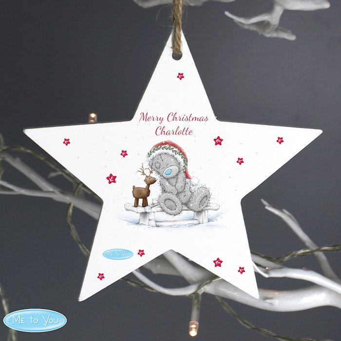 Me To You Reindeer Wooden Star Decoration