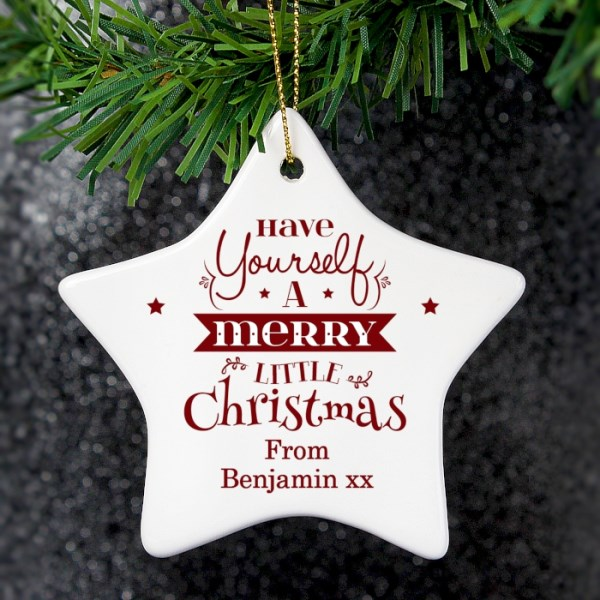 Merry Little Christmas Ceramic Star Decoration