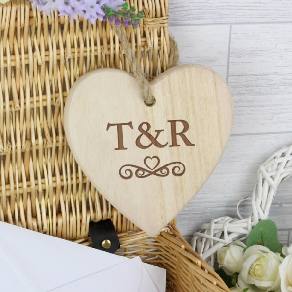 Monogram Chunky Wooden Heart Decoration