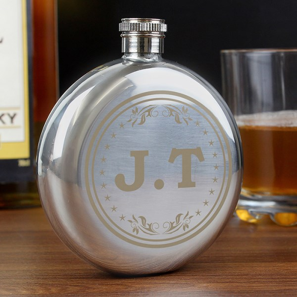 Monogram Round Hip Flask