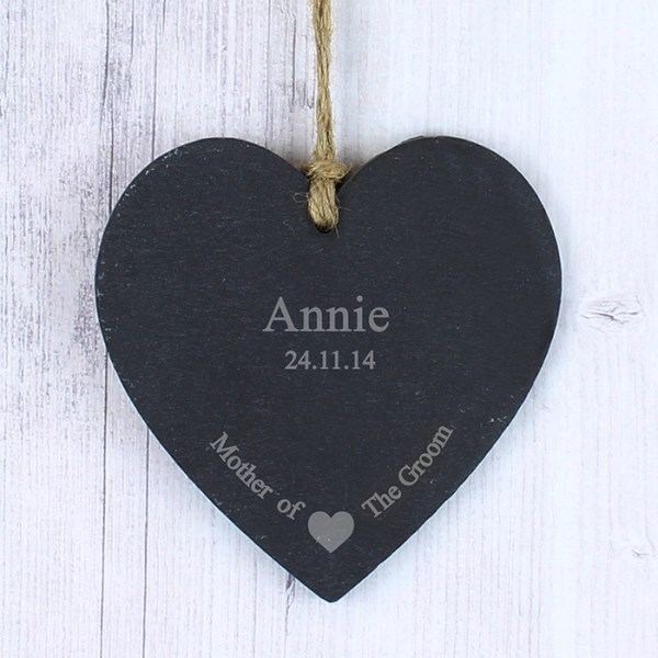 Mother Of The Groom Slate Heart Decoration