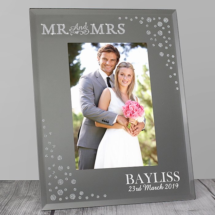 Mr and Mrs 4x6 Diamante Glass Photo Frame