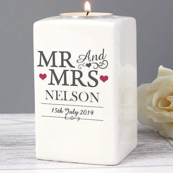 Mr & Mrs Ceramic Tea Light Candle Holder