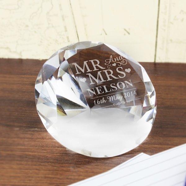 Mr & Mrs Diamond Paperweight