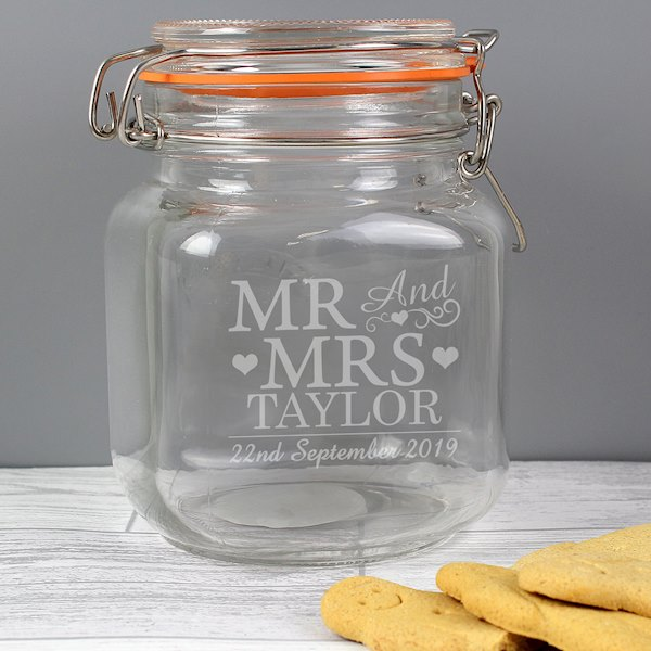 Mr & Mrs Glass Kilner Jar