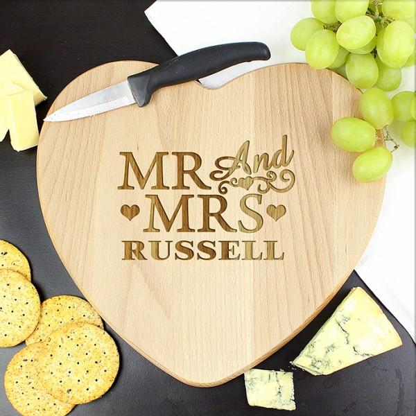 Mr & Mrs Heart Chopping Board