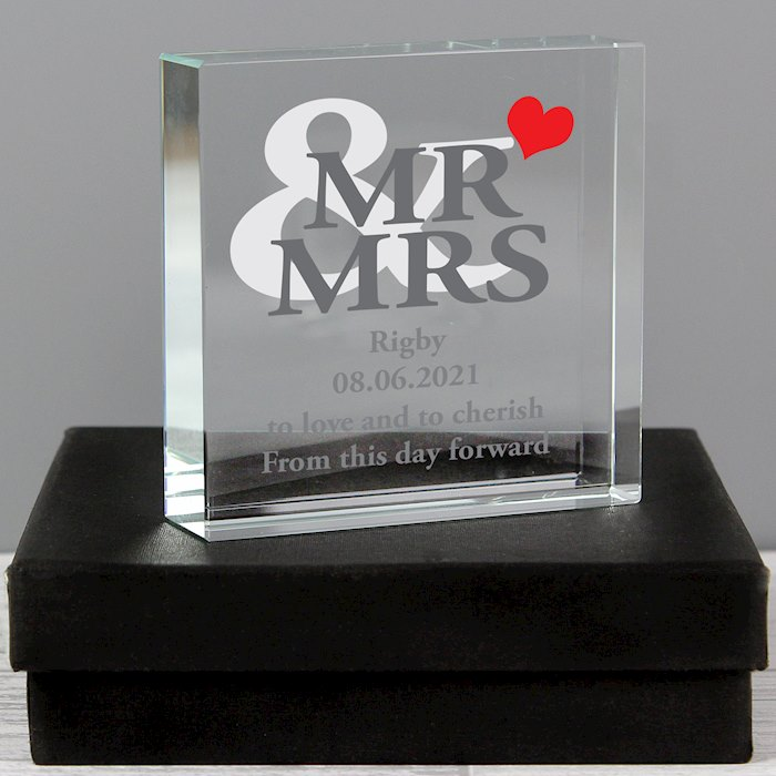Mr & Mrs Large Crystal Block Token