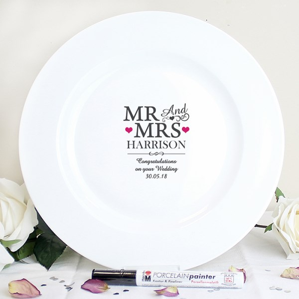 Mr & Mrs Message Plate