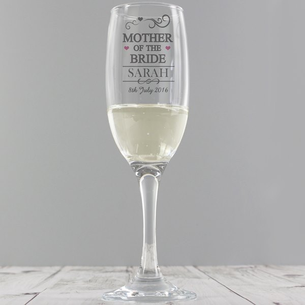 Mother of the Bride Glass Flute