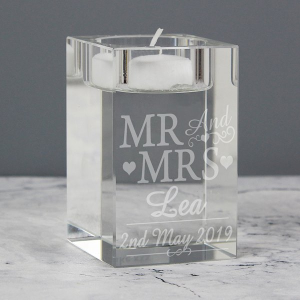 Mr & Mrs Glass Tea Light Candle Holder