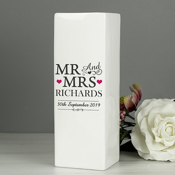 Mr & Mrs White Square Vase