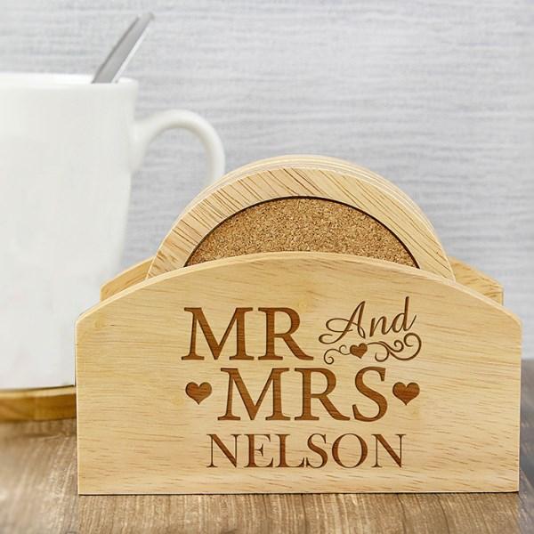 Mr & Mrs Wooden Coaster Set