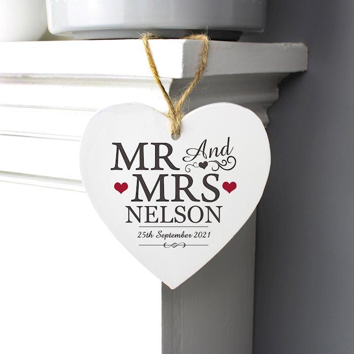Mr & Mrs Wooden Heart Decoration