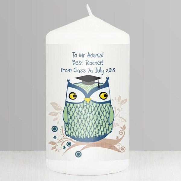 Mr Owl Teacher Candle