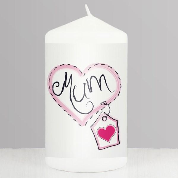 Mum Heart Stitch Candle
