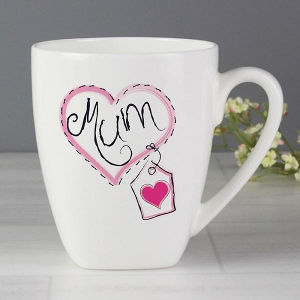 Mum Heart Stitch Latte Mug