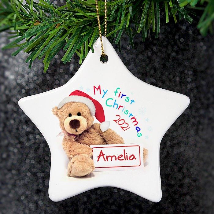 My First Christmas Teddy Ceramic Star Decoration