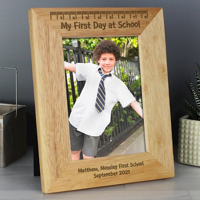 My First Day at School 5x7 Wooden Photo Frame