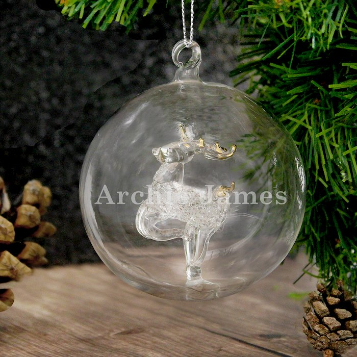 Name Only Reindeer Glass Bauble
