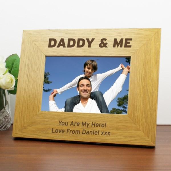 Oak Finish 6x4 Daddy & Me Photo Frame