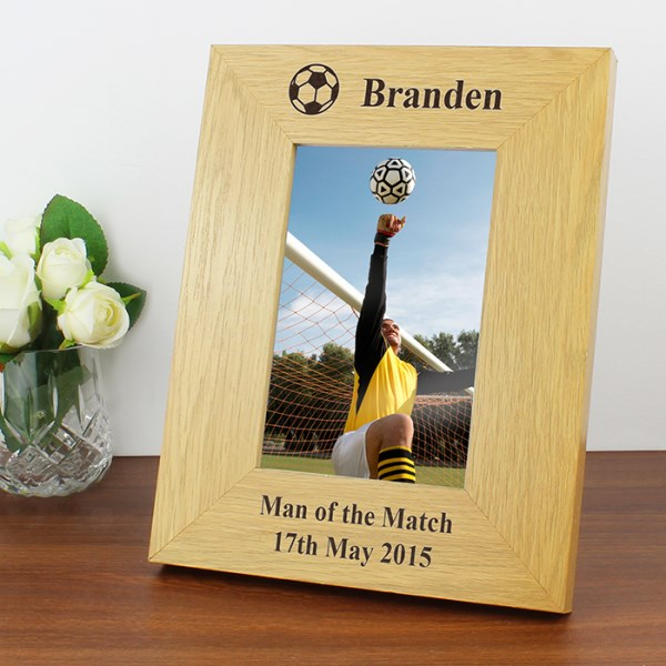 Oak Finish 4x6 Football Photo Frame