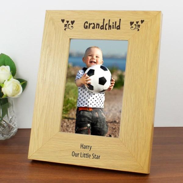 Oak Finish 4x6 Grandchild Photo Frame