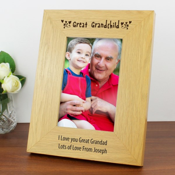 Oak Finish 4x6 Great Grandchild Photo Frame