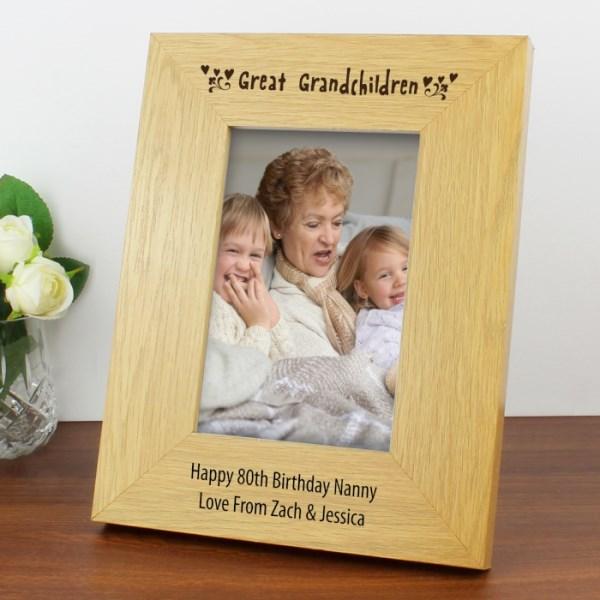 Oak Finish 4x6 Great Grandchildren Photo Frame