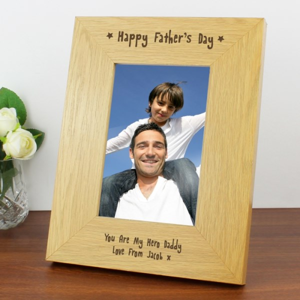 Oak Finish 4x6 Happy Father's Day Photo Frame