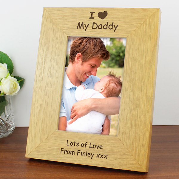 Oak Finish 4x6 I Heart Photo Frame