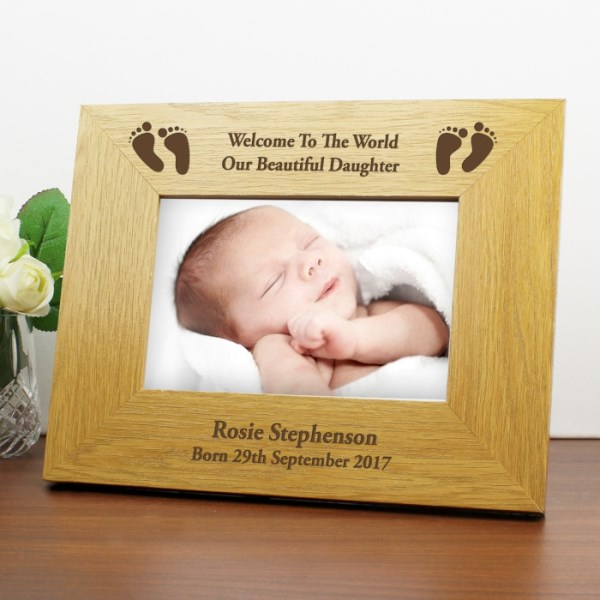 Oak Finish 6x4 Landscape Baby Footprints Photo Frame