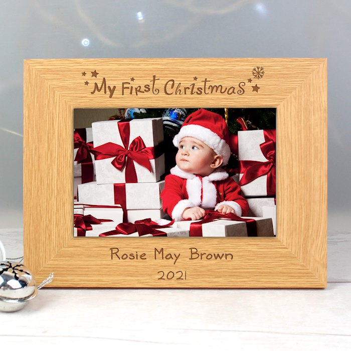 Oak Finish 6x4 My First Christmas Photo Frame
