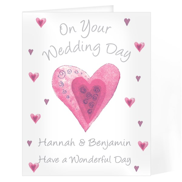 On Your Wedding Day Pink Heart Card