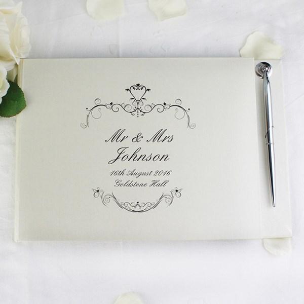 Personalised Ornate Swirl Hardback Guest Book & Pen