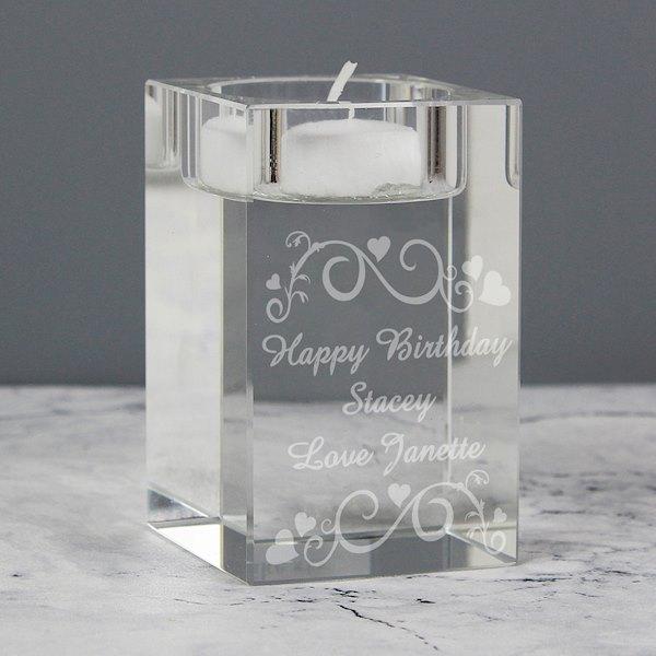 Ornate Swirl Glass Tea Light Candle Holder