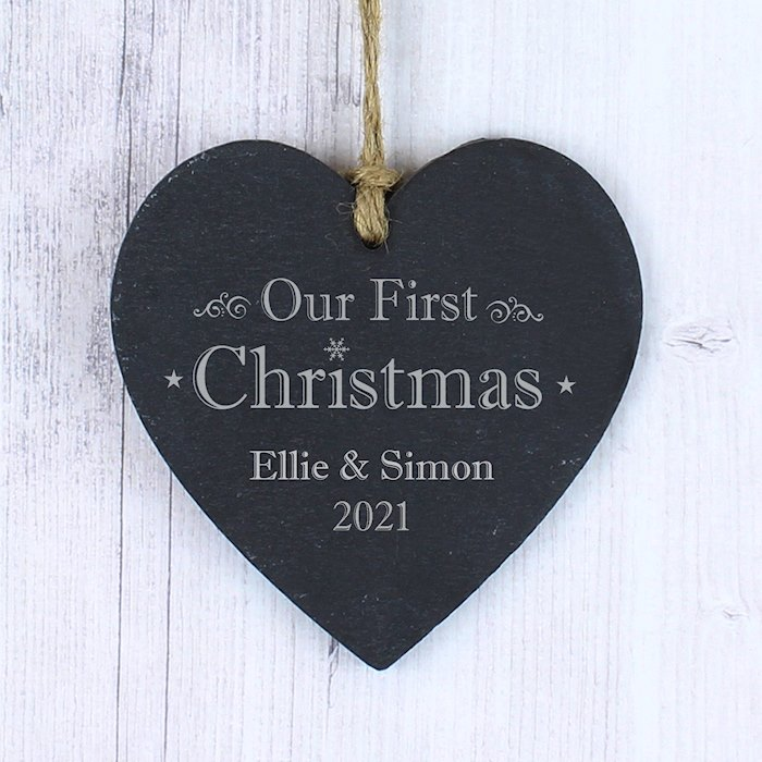 Our First Christmas Slate Heart