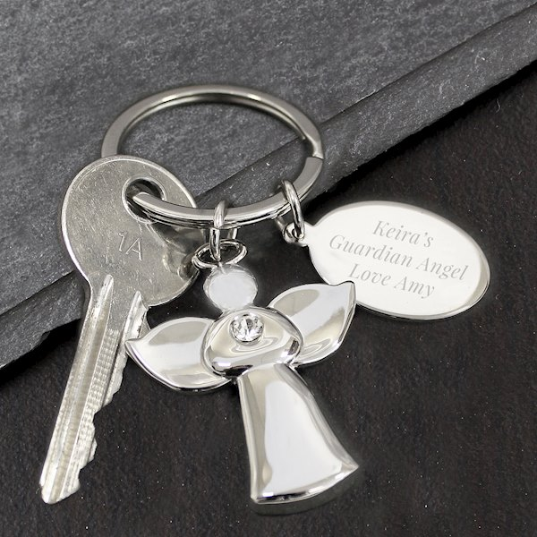 Personalied Silver Plated Angel Keyring
