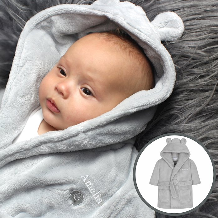 0-6 Months Grey Bear Ears Hooded Baby Dressing Gown