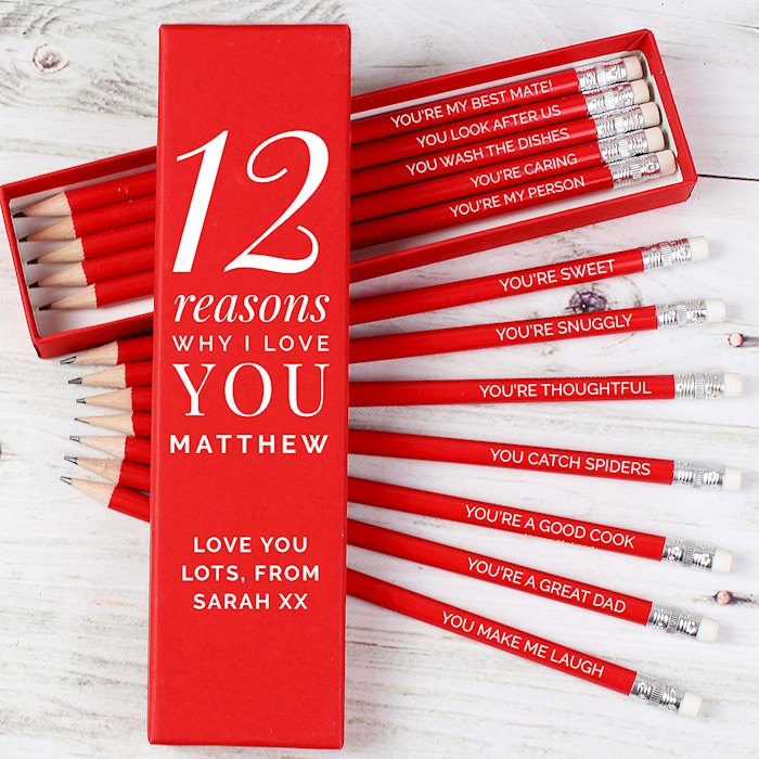 12 Reasons Why I Love You Box and 12 Red HB Pencils